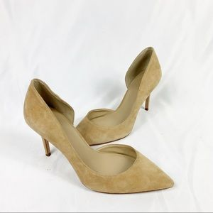 Ann Taylor Leather Suede Pointed D'Orsay Pumps
